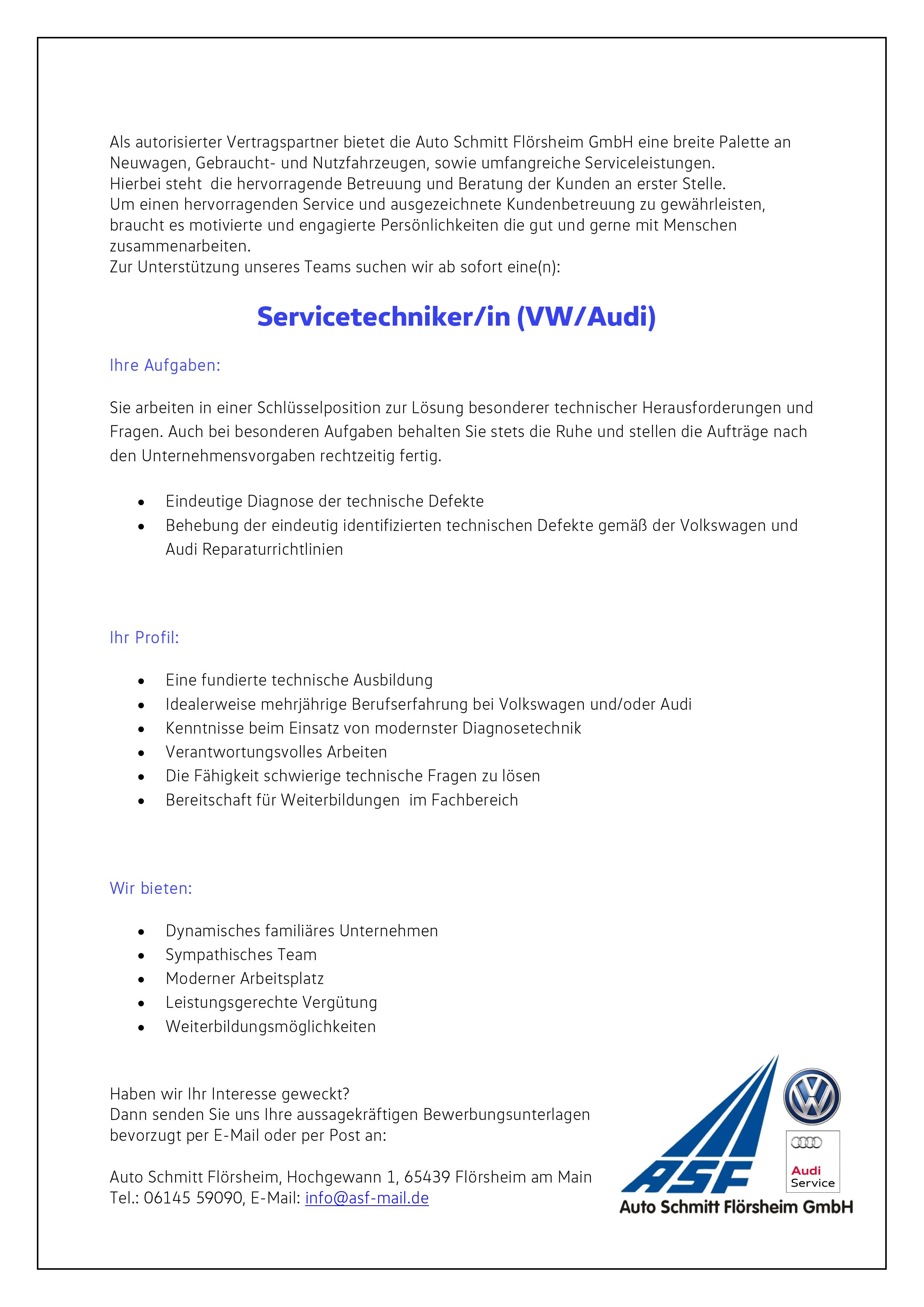 willkommen im asf team - Vw Bewerbung